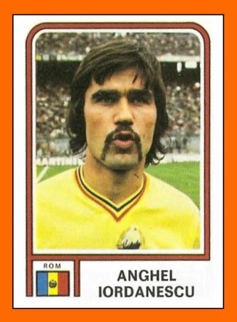 """Anghel """"Puiu"""" Iordănescu (n. 4 mai 1950, București) este un fost jucător de fotbal, actualmente antrenor și senator de Ilfov din partea UNPR. Este actualul selecționer al echipei naționale de fotbal a României, fiind la cel de-al treilea mandat la conducerea cestei echipe. În data de 5 septembrie 1994 a fost avansat la gradul de general (M.A.N.) A fost trecut in rezerva cu acest grad la data de 15 iulie 1998 - in imagine, Anghel Iordănescu in 1978 - foto: cersipamantromanesc.wordpress.com"""