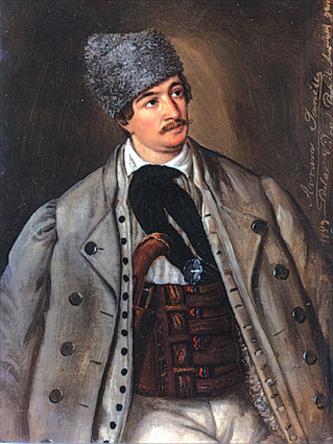 Avram Iancu (n. 1824, Vidra de Sus – d. 10 septembrie 1872, Baia de Criș, Hunedoara) a fost un avocat transilvănean și revoluționar român pașoptist, care a jucat un rol important în Revoluția de la 1848 din Transilvania. A fost conducătorul de fapt al Țării Moților în anul 1849, comandând armata românilor transilvăneni, în alianță cu armata austriacă, împotriva trupelor revoluționare ungare aflate sub conducerea lui Lajos Kossuth - in imagine, Avram Iancu, pictură de Barbu Iscovescu, primăvara lui 1849 - foto: ro.wikipedia.org