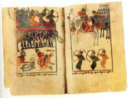 """Bătălia de la Avarayr, cunoscută și ca Bătălia de la Vartanantz, s-a desfășurat la 26 mai 451 D.Hr. pe Câmpia Avarayr din provincia armeană Vaspurakan, între o armată armeană creștină condusă de Vardan Mamikonian și o armată persană sasanidă - in imagine, """"Bătălia de la Avarayr"""" miniatură de Karapet Berkretsi - foto: ro.wikipedia.org"""