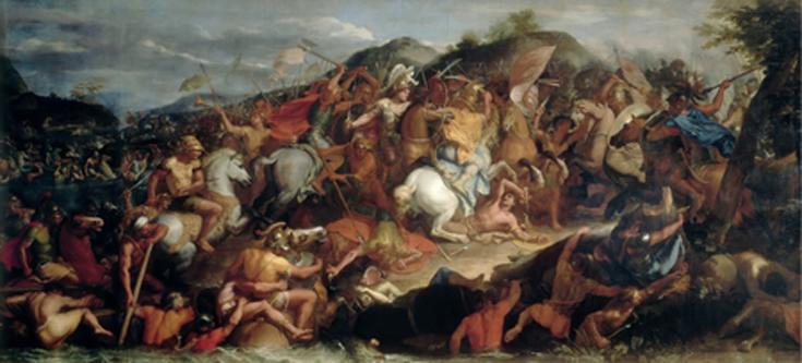 """Bătălia de la Granicus (334 î.Hr.) este prima victorie obținută de Alexandru cel Mare în invazia Imperiului Persan. În pofida condițiilor nefavorabile, armata lui Alexandru i-a învins pe perșii conduși de Darius al III-lea, care au fugit. Alexandru i-a provocat la luptă pe generalii perși, omorând două dintre rudele lui Darius și fiind în pericol de a-și pierde și el viața. Din cronici reiese că macedonenii au pierdut doar 115 oameni. În urma victoriei, Alexandru a cucerit vestul Asiei Mici, iar majoritatea orașelor s-au grăbit să-i deschidă porțile - in imagine, """"Bătălia de lep râul Granicus"""", Charles Le Brun, (1665) - foto: ro.wikipedia.org"""