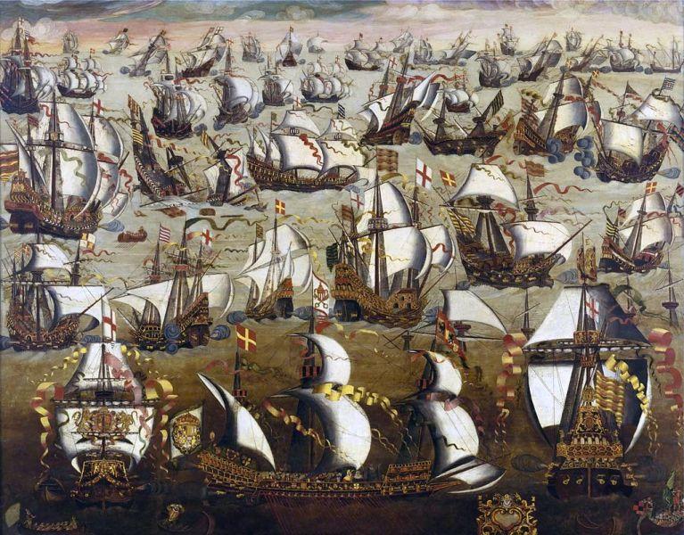 Armada Spaniola si flota engleza in august 1588 - foto: ro.wikipedia.org