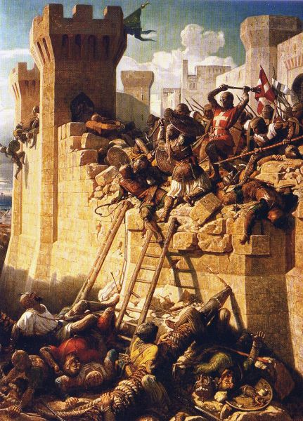 The Hospitalier Maréchal Matthieu de Clermont[1] defending the walls at the Siege of Acre, 1291, by Dominique Papety (1815–49) at Versailles - foto: en.wikipedia.org