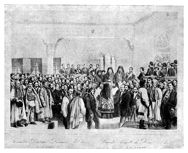 Solemnitatea deschiderii Adunării ad-hoc din Ţara Românească (Bucureşti, 8 octombrie 1857) litografie de Carol Popp de Szathmáry - foto preluat de pe ro.wikipedia.org