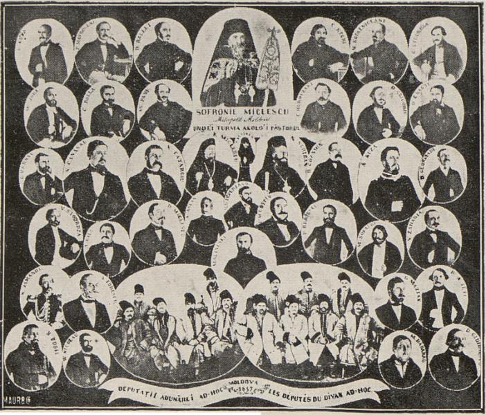 Divanul ad-hoc al Moldovei (7 octombrie 1857) a fost format dintr-un număr de 85 de deputați, aleși în cinci colegii: cler, mari proprietari, mici proprietari, reprezentanți ai orașelor și reprezentanți ai satelor. Componența divanului era următoarea: 8 reprezentanți ai clerului, 28 de reprezentanți ai marilor proprietari, 14 reprezentanți ai micilor proprietari, 15 reprezentanți ai populației rurale și 20 reprezentanți ai populației urbane - foto preluat de pe ro.wikipedia.org