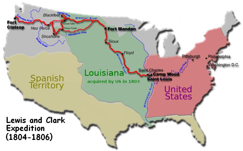 14 mai 1804: Președintele american Thomas Jefferson comandă o expediție la scurt timp după achiziționarea Louisianei în 1803. Începe Expediția lui Lewis și Clark care durează între mai 1804 până în septembrie 1806; prima traversare a continentului nord-american spre Pacific - foto: ro.wikipedia.org