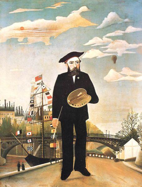 Henri-Julien-Félix-Rousseau (cunoscut ca le Douanier (Vameșul), n. 21 mai 1844 în Laval/Mayenne, Franța, d. 2 septembrie 1910 în Paris) a fost un pictor francez post-impresionist - in imagine, Henri Rousseau: Autoportret, 1890 - Národni Galerie, Praga - foto: ro.wikipedia.org