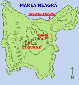 Insula Șerpilor - Planul insulei - foto: ro.wikipedia.org