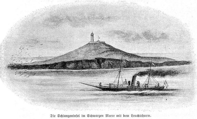 """Insula văzută din larg în 1896, cu primul bric """"Mircea"""" în față - foto: ro.wikipedia.org"""