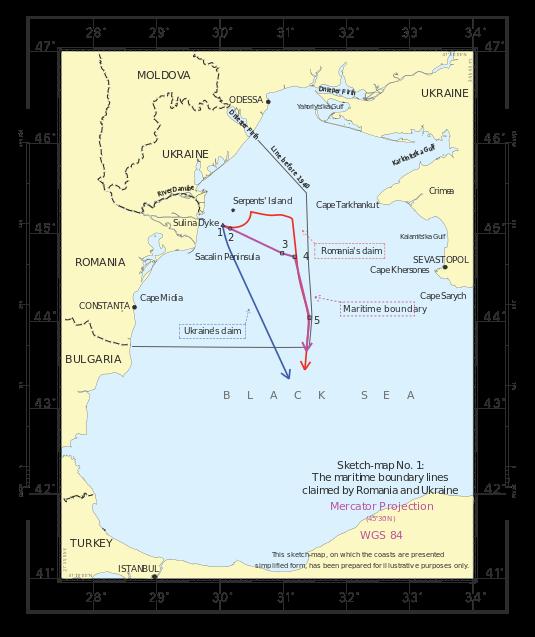 Insula Șerpilor - Delimitarea frontierei maritime în Marea Neagră între România și Ucraina conform deciziei CIJ - foto: ro.wikipedia.org