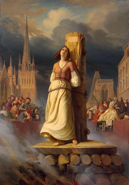 Ioana d'Arc (Ioana de Arc, Fecioara din Orleans; în franceză: Jeanne d'Arc; n. 6 ianuarie 1412 – d. 30 mai 1431) este una din figurile emblematice ale Franței și sfântă a Bisericii Catolice dar și foarte controversată întrucât unii autori au considerat că era schizofrenică (auzea voci). A fost supranumită de naționaliștii francezi Fecioara din Orleans și i s-a atribuit faptul că, în urma unor viziuni, Dumnezeu i-a spus să elibereze pământurile Franței care erau dominate de Anglia după Războiul de 100 de ani (1337–1453) - foto: ro.wikipedia.org