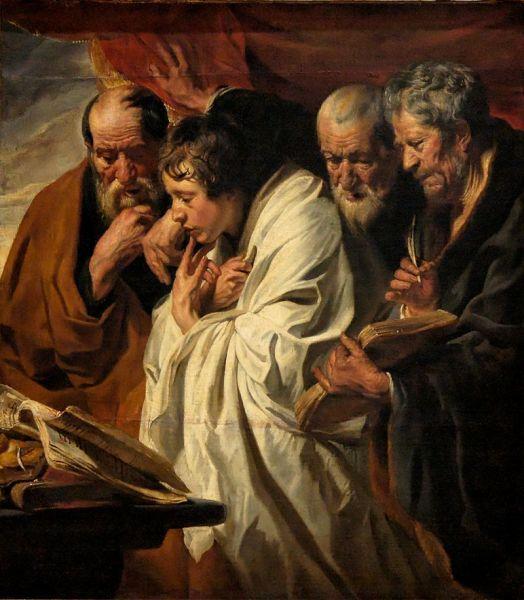 """Jacob Jordaens - """"Cei patru evanghelişti"""", pictură realizată în perioada 1625–1630 şi aflată la Louvre - foto: ro.wikipedia.org"""