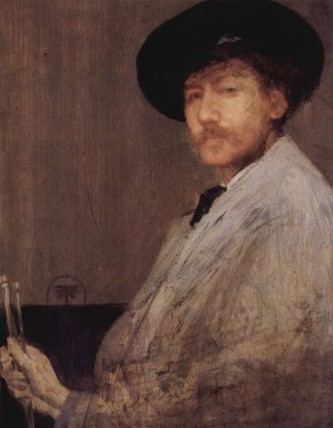 """James Abbott McNeill Whistler (n. 11 iulie 1834, Lowell, Massachusetts - d. 17 iulie 1903, Londra) a fost un pictor american, naturalizat ulterior în Marea Britanie, cu un stil propriu oscilând între realism, simbolism și impresionism, format la școlile pariziene de pictură. Stilul aparent simplu al artistului, uneori numit tonalism, aduce inovații îndrăznețe în pictură. În vremurile în care realismul, mai apoi impresionismul își bazau procesul de creație pe observarea directă a naturii, Whistler alege alte modalități artistice, mult mai rafinate. Pictura sa relevă orizonturi noi, exotice. Peisajele sale creează impresia că provin dintr-o altă lume, iar portretele lui sondează adâncimile singurătății intime - in imagine, James Abbott McNeill Whistler, """"Aranjament în gri - Autoportret"""", 1872, The Institute of Arts, Detroit - foto: ro.wikipedia.org"""