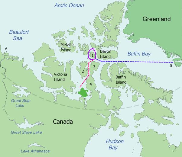 """""""Expediția lui John Franklin"""" a avut ca obiectiv explorarea zonei arctice și găsirea Pasajului de nord-vest. A fost condusă de Sir John Franklin, care a pornit din Anglia în 1845. Din nefericire, cele două corăbii (Erebus și Terror) au fost surprinse în Strâmtoarea Victoria, în vecinătatea Insulei King William. John Franklin și întregul său echipaj (128 de persoane) au pierit în expediție (Traseul probabil al expediţiei) - foto: ro.wikipedia.org"""