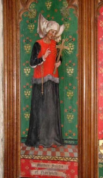 Julian of Norwich (c. 8 November 1342 – c. 1416) was an English anchoress and an important Christian mystic (Julian of Norwich, as depicted in the church of Ss Andrew and Mary, Langham, Norfolk) - foto: en.wikipedia.org