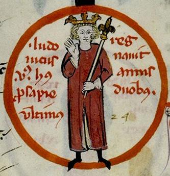 Ludovic al V-lea (c. 967 – 21 mai 987), a fost rege al Franciei Occidentale din 986 până la moartea sa. Fiu al regelui Lothar al Franței și a soției sale Emma a Italiei, care era fiica lui Lothar al II-lea al Italiei, el a fost ultimul monarh carolingian - in imagine, Ludovic al V-lea (miniatură din secolul al XIV-lea) - foto: ro.wikipedia.org
