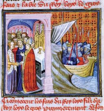 (scenă stânga) reprezentare din secolul al XIV-lea a nunții dintre Ludovic și Eleanor; (scenă dreapta) reprezentare a lui Ludovic plecând în cruciadă - foto: ro.wikipedia.org