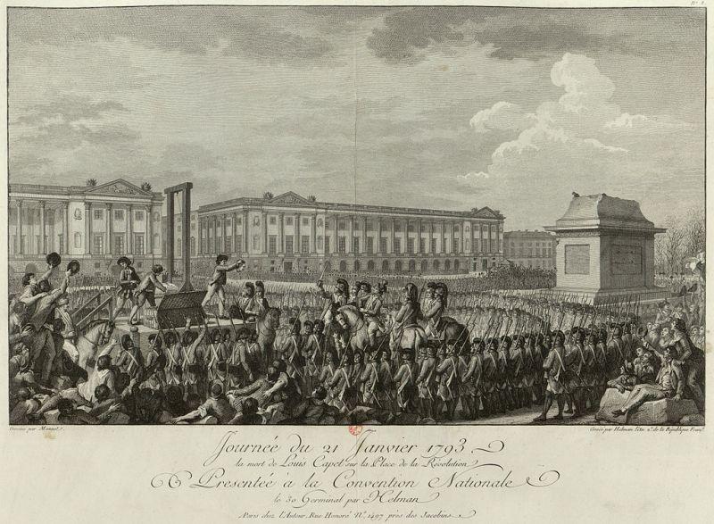 Execuția lui Ludovic al XVI-lea în Piața Revoluției. Pe piedestalul gol din fața lui fusese statuia bunicului său, Ludovic al XV-lea, dărâmată în timpul Revoluției franceze - foto: ro.wikipedia.org