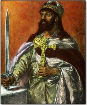Mieszko I (n. c. 935 - d. 25 mai 992) a fost duce al polanilor, fiind primul conducător atestat al statului polonez din dinastia Piast. El este fiul lui Siemomysł; nepotul lui Lestek; tatăl primului rege polonez încoronat Boleslau I cel Viteaz; de asemenea tatăl probabil al reginei Świętosława (Sigrid), o regină nordică, și bunicul fiului ei, Knut cel Mare. Mieszko I al Poloniei a fost botezat în anul 966 de misionari din Regatul Ceh. Creștinarea Poloniei a început în această perioadă și s-a desfășurat concomitent cu combaterea credințelor slave păgâne. Primul domnitor istoric al Poloniei, Mieszko I este considerat creatorul de facto al statului polonez. El a continuat politica atât a tatălui său cât și pe cea a bunicului său, cei doi strămoși ai săi fiind conducători ai triburilor păgâne situate în zona Poloniei Mari din zilele noastre. Fie prin alianțe sau prin folosirea forței militare, Mieszko a extins cuceririle în curs de desfășurare și la începutul domniei sale a cucerit Kujawy și Pomerania și probabil Gdańsk și Masovia. În cea mai mare parte a domniei sale, Mieszko I a fost implicat într-un război pentru controlul Pomeraniei Occidentale, în cele din urmă cucerind o parte a acesteia până lângă cursul inferior al râului Oder. În ultimii ani ai vieții sale el s-a luptat cu statul Boemia, câștigând probabil Silezia și Polonia Mică - in imagine, Mieszko I al Poloniei, Portret de Jan Matejko - foto: ro.wikipedia.org