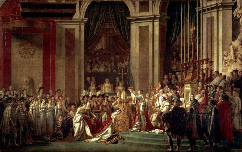 """""""Încoronarea lui Napoleon"""" este o pânză pictată de Jacques-Louis David în perioada 1805-1807. Tabloul se găsește la Muzeul Louvre, Paris - foto: ro.wikipedia.org"""