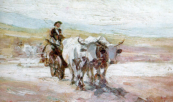 "Nicolae Grigorescu, ""Car cu boi"", 1899 - Galeria Naţională, Bucureşti - foto: ro.wikipedia.org"