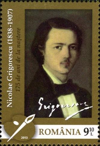Nicolae Grigorescu - Autoportret, marcă poștală din 2013 - foto: ro.wikipedia.org