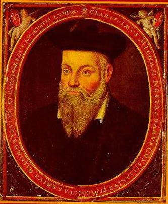 Nostradamus (14 decembrie, 1503 – 2 iulie, 1566), pe numele său real Michel de Nostredame, a fost un faimos medic, cabalist și farmacist francez. Celebritatea sa se datorează lucrării Les Propheties, a cărei primă ediție a apărut în 1555. De la publicarea sa, a devenit foarte populară în toată lumea, creându-se în jurul său un cult. În literatura tuturor timpurilor i s-a acordat titlul de prevestitor a tuturor marilor evenimente care se desfășurau sau urmau să se întâmple în lume. Lucrările lui Nostradamus sunt realizate din catrene, multe dintre ele au fost de-a lungul timpului interpretate sau traduse greșit. Nostradamus este o figură proeminentă a Renașterii Franceze și profețiile sale sunt strâns legate de aplicarea Codului Bibliei, cât și a altor lucrări despre profeții. Cel mai renumit cercetător al operei și vieții sale este românul Vlaicu Ionescu - in imagine, Nostradamus, portret realizat de fiul său Cesar - foto: ro.wikipedia.org