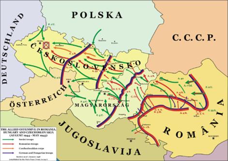 Operațiunea ofensiva Praga a fost ultima bătălie importantă a celui de-al doilea război mondial de pe teatrul de război din Europa. Batălia de la Praga s-a desfășurat în perioada 6 – 11 mai 1945 pe frontul de răsărit. Particularitatea principală a acestei bătălii este faptul că luptele au continuat și după ce Reichul a capitulat pe 8/9 mai. O altă particularitate este aceea că bătălia a fost declanșată în paralel cu Insurecția din Praga - foto: ro.wikipedia.org