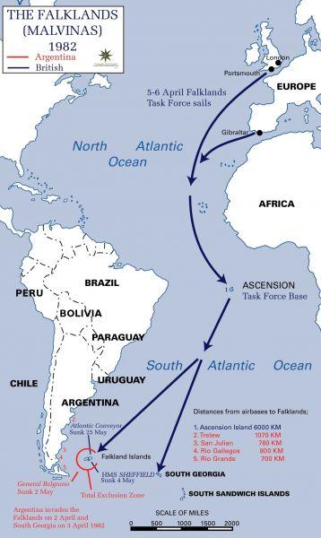 """""""Războiul Malvinelor' (Hartă descriind recucerirea Insulelor Falkland de către britanici) - foto: ro.wikipedia.org"""