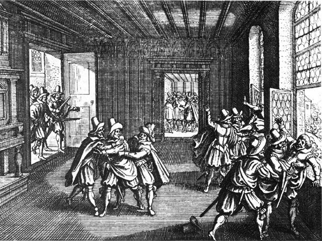 """""""Războiul de Treizeci de Ani"""" a durat din 1618 până în 1648 și a fost un război purtat sub pretext religios. Cauza principală a fost lupta pentru hegemonie în Europa, în special ambiția Franței, condusă de cardinalul Richelieu, de a se profila pe plan european în detrimentul Imperiului romano-german și puterii Habsburgilor - in imagine, Aruncarea delegaților catolici pe fereastrǎ, în Praga (1618) - foto: ro.wikipedia.org"""