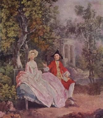 """Thomas Gainsborough, """"Discuție în parc"""" (1745-1746). Perechea prezentată în tablou, într-o atitudine ușor teatrală, nu este alta decât pictorul împreună cu soția lui, Margaret Burr - foto: ro.wikipedia.org"""