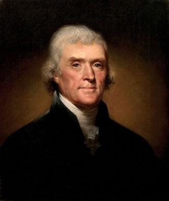 """Thomas Jefferson (n. 13 aprilie 1743 - d. 4 iulie 1826) a fost al doilea vicepreședinte și al treilea președinte al Statelor Unite ale Americii (1801 - 1809), autor al Declarației de Independență (1776), și unul dintre cei mai influenți dintre """"părinții fondatori"""" ai Statelor Unite. Evenimentele majore din timpul președinției sale includ Louisiana Purchase (Achiziția Louisianei) (1803), Actul Embargoului din 1807 și Expediția lui Lewis și Clark (1804 – 1806) - in imagine, Portret al lui Thomas Jefferson de Rembrandt Peale, 1800 - foto: ro.wikipedia.org"""