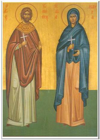 Sfinții Mucenici Timotei și Mavra, soția sa. Prăznuirea lor de către Biserica Ortodoxă se face la data de 4 mai - foto preluat de pe doxologia.ro