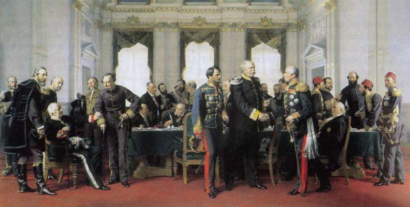 Tratatul de la Berlin (13 iunie S.V. 1 iunie–13 iulie S.V. 1 iulie 1878) a fost tratatul internațional care a pus capăt Războiului Ruso-Turc din anii 1877–1878. El avea menirea de a revizui prevederile păcii de la San Stefano și a reduce astfel influența obținută prin aceasta de Imperiul Rus în Balcani. Prin acest tratat semnat în urma Conferinței de la Berlin s-a recunoscut de jure independența României, Serbiei și Muntenegrului - in imagine,  Anton von Werner, Congress of Berlin (1881): Final meeting at the Reich Chancellery on 13 July 1878, Bismarck between Gyula Andrássy and Pyotr Shuvalov, on the left Alajos Károlyi, Alexander Gorchakov and Benjamin Disraeli -  foto preluat de pe ro.wikipedia.org