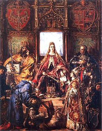 Universitatea Jagiellonă (în poloneză Uniwersytet Jagielloński, denumită în trecut și latină Studium Generale, Universitatea Cracovia, Academia Cracovia, Școala Principală a Coroanei, Școala Principală Cracovia) a fost înființată în 1364 la Cracovia de către Cazimir al III-lea, regele Poloniei, fiind cea mai veche universitate din Polonia, a doua ca vechime din Europa Centrală și una dintre cele mai vechi din lume. În 1817 a fost rebotezată Universitatea Jagiellonă în memoria dinastiei Jagiellone din Polonia care a susținut și reînființat Universitatea din Cracovia în vremuri grele. În 2006 The Times Higher Education Supplement a plasat universitatea pe primul loc între universitățile poloneze, fiind pe locul 278 în lume în Top 500 - in imagine, Înfiinţarea universităţii, pictură de Jan Matejko - foto: ro.wikipedia.org