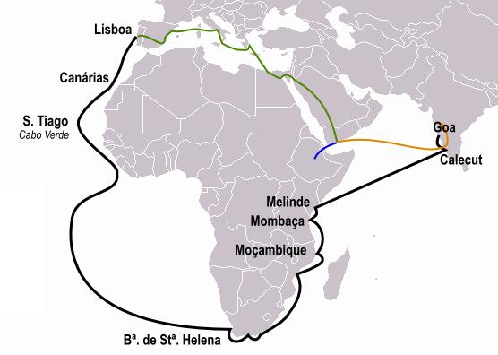 da Gama Rute prima călătorie spre India (notat cu negru) Călătoria Pêro da Covilhã (portocaliu) și Afonso de Paiva (albastru). Rutele comune sunt notate cu linie verde - foto: ro.wikipedia.org