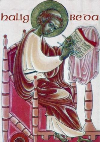 Venerabilul Beda (n. 672 - 25 mai, 735) a fost un călugăr al Mănăstirii Northumbriane a Sfântului Petre din Wearmouth (astăzi parte din Sunderland), şi al Mănăstirii soră, Sfântul Paul, în Jarrow-ul modern. El este bine cunoscut ca autor şi erudit, a cărui lucrare cea mai cunoscută este Historia Ecclesiastica Gentis Anglorum (Istoria bisericească a poporului englez), care i-a adus supranumele de Părinte al istoriei engleze. Sfântul Beda a scris lucrări în multe alte domenii, de la muzică şi sistemul muzical la comentarii la Sfânta Scriptură. Prăznuirea lui se face în 25 mai, 26, sau 27, în funcţie de izvoarele folosite la întocmirea calendarului - foto: ro.orthodoxwiki.org