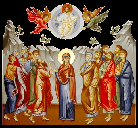 Înălțarea la Cer a Domnului. Înălțarea Domnului Iisus Hristos este unul din Praznicele Împărătești ale Bisericii Ortodoxe, prăznuită la patruzeci de zile după Sfintele Paști (și de aceea cade mereu într-o zi de joi). La patruzeci de zile după Înviere, în timp ce îi binecuvânta pe ucenicii Săi (Evanghelia după Luca 24:50-51), Hristos s-a înălțat la Cer, luându-și locul de-a dreapta Tatălui (Evanghelia după Luca 16:19 și Crezului niceo-constantinopolitan) - foto: doxologia.ro