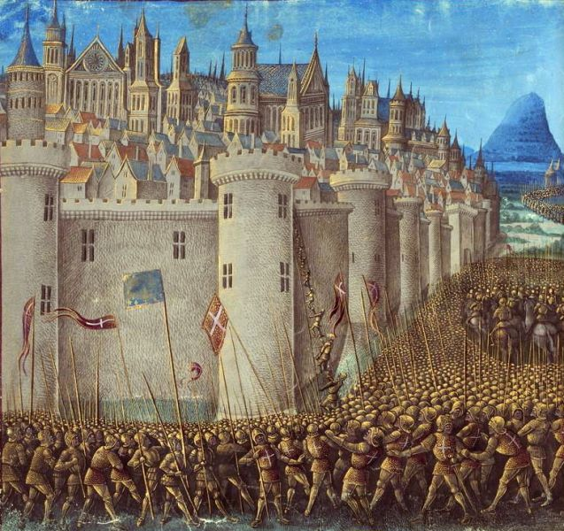 Detail of a medieval miniature of the Siege of Antioch from Sébastien Mamerot's Les Passages d'Outremer - foto: ro.wikipedia.org
