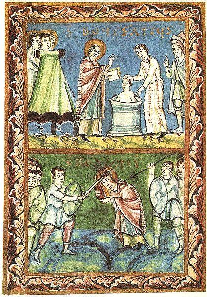 """Sfântul Ierarh Mucenic Bonifaciu sau Bonifatie (latinește: Bonifacius), n. 672 - d. 5 iunie 754 sau 755, """"Apostolul germanilor"""", a fost un propovăduitor care a răspândit creștinismul în Germania secolului al VIII-lea. Prăznuirea sa se face la 5 iunie, ziua adormirii sale - in imagine, Sf. Bonifaciu Botezul noilor creștini (sus) Martiriul (jos) - foto: ro.orthodoxwiki.org"""