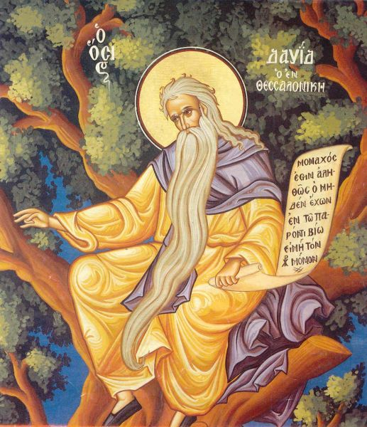 Sfântul Cuvios David din Tesalonic. Prăznuirea sa de către Biserica Ortodoxă se face la data de 26 iunie - În icoane Sfântul David este de obicei reprezentat într-un copac deoarece după un timp de călugărie și-a făcut din creanga unui migdal loc de pustnicie. Aici va îndura ploile, zăpezile, căldura și alte strâmtorări cu multă răbdare timp de trei ani, până când îngerul Domnului îi va cere să se nevoiască într-o chilie - foto preluat de pe doxologia.ro