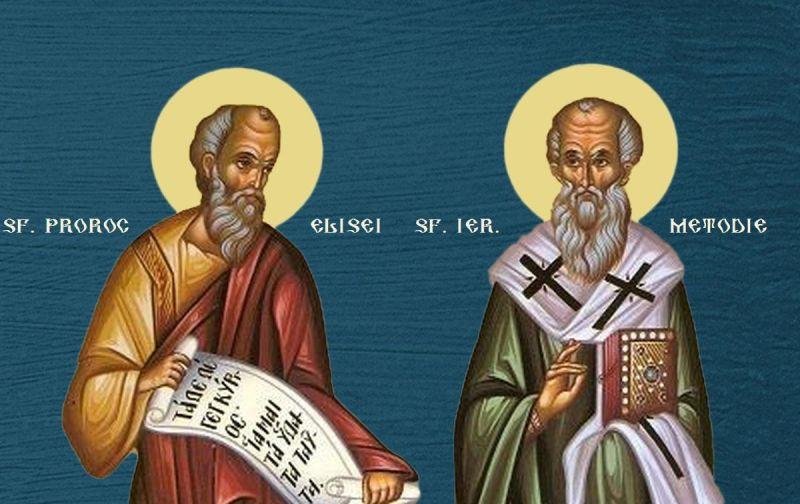 Sf. Proroc Elisei; Sf. Ier. Metodie Mărturisitorul, patriarhul Constantinopolului - foto preluat de pe ziarullumina.ro