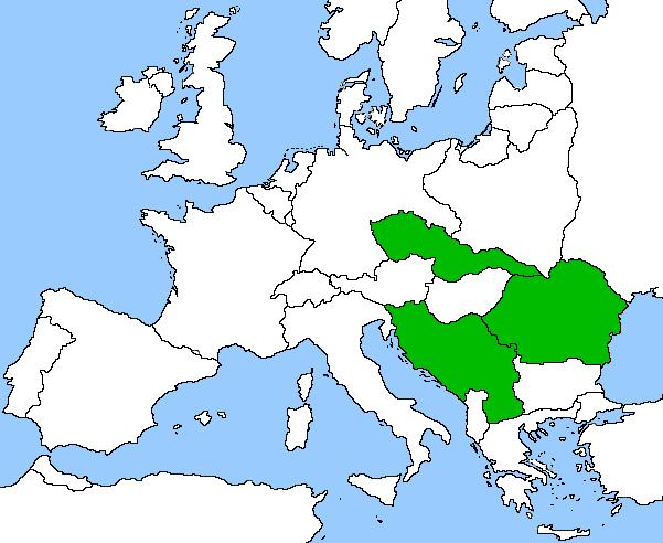 Pe harta, ţările participante la Mica Înţelegere (Mica Antantă) - foto: cersipamantromanesc.wordpress.com