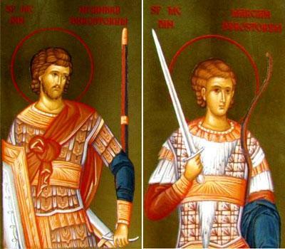 Sfinții Mucenici Nicandru și Marcian de la Durostorum, au trăit în secolele III – IV. Erau ostași în armata romană de la Dunăre, încartiruiți în cetatea Durostor. Mărturisindu-L pe Hristos în vremea persecuției din timpul împăratului Maximian Galeriu, au luat cununa muceniciei. Biserica Ortodoxă îi prăznuiește pe 8 iunie - foto: doxologia.ro