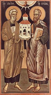 Sfinții Apostoli Petru și Pavel (29 iunie) -  foto preluat de pe ro.orthodoxwiki.org