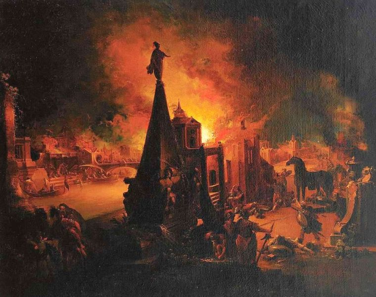 """""""Prăbuşirea Troiei"""" de Johann Georg Trautmann (1713–1769) - foto: ro.wikipedia.org"""