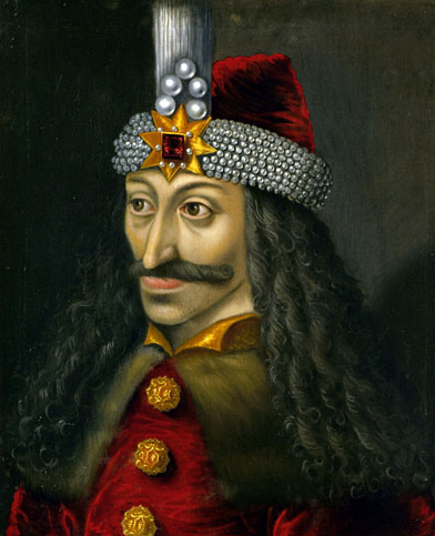 Vlad Țepeș (n. noiembrie/decembrie 1431 - d. decembrie 1476), denumit și Vlad Drăculea (sau Dracula, de către străini), a domnit în Țara Românească în anii 1448, 1456-1462 și 1476 - in imagine, Vlad Țepeș Domn al Țării Românești, tablou postum, din a doua jumătate a secolului XVI-lea. 60x50 cm. Kunsthistorisches Museum (Viena) - foto: ro.wikipedia.org
