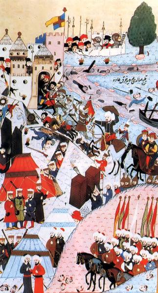 Bătălia de la Belgrad (4 - 22 iulie 1456) - Asediul Belgradului din 1456 (pictură turcească din 1584) - foto preluat de pe ro.wikipedia.org