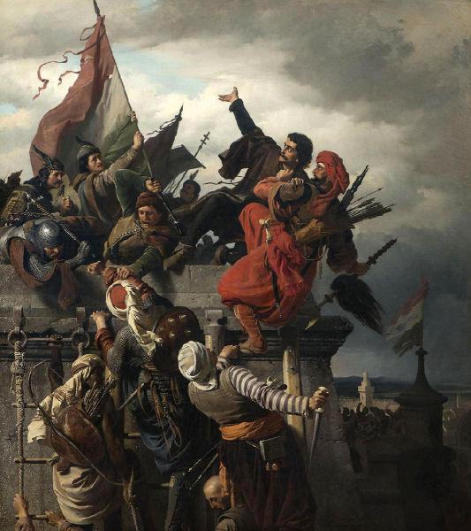 Asediul Belgradului - Bătălia de la Belgrad (4 - 22 iulie 1456) - Pictura Eroismul lui Titus Dugović a lui Sándor Wagner datează din secolul al XIX-lea, realizată într-o manieră mixată de baroc târziu şi academism - foto preluat de pe ro.wikipedia.org