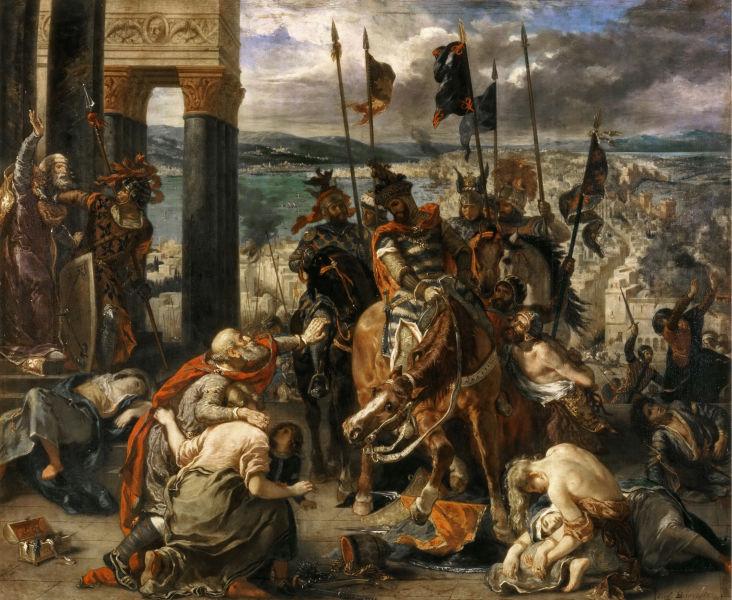 """Cruciada a patra (1202–1204) """"Intrarea cruciaţilor în Constantinopol"""", de Eugène Delacroix - foto preluat de pe ro.wikipedia.org"""