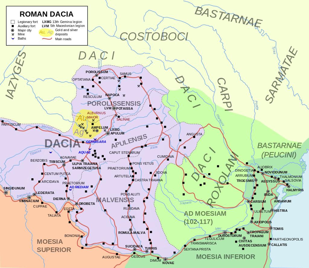 Dacia romana (106 - 271) a fost o provincie romană după cucerirea Daciei de către Imperiul Roman sub conducerea lui Traian în 106 și a durat până în 271, deci un total de 165 de ani - foto preluat de pe ro.wikipedia.org